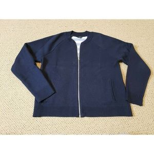 Ann Taylor Sweater Jacket Solid Navy Blue Zip